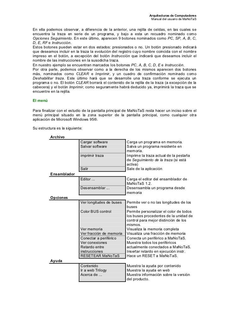 Arquitecturas de Computadores                                                                     Manual del usuario de Ma...