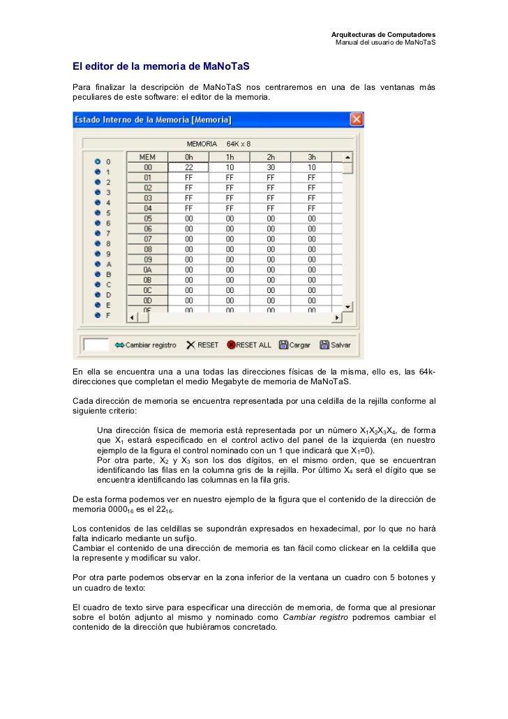 Arquitecturas de Computadores                                                                       Manual del usuario de ...