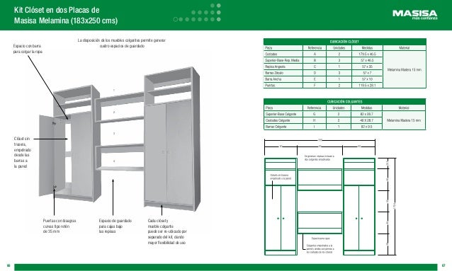 Manual masisa for Planos closet melamina pdf