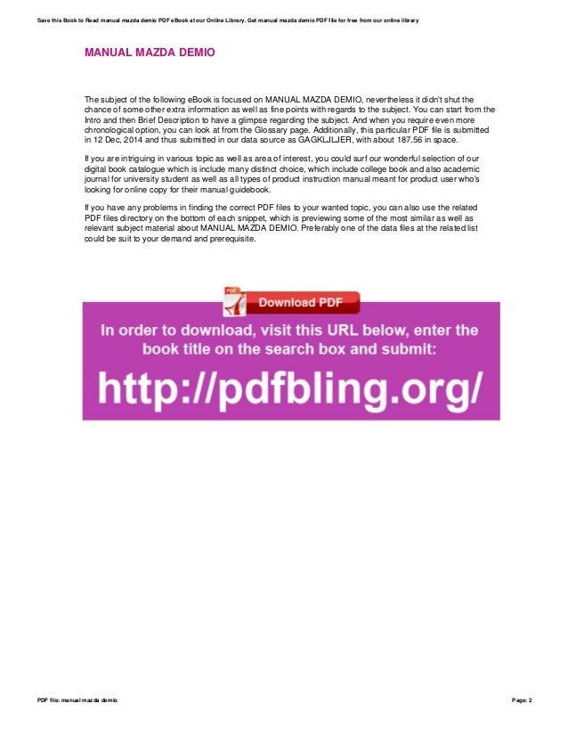Manual mazda demio ebook array manual mazda demio rh slideshare net fandeluxe Choice Image