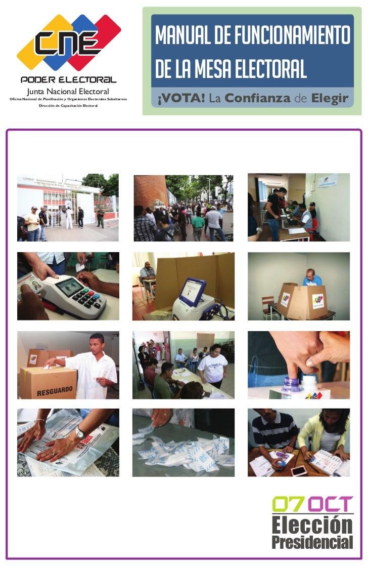 Manual de Funcionamiento                                                                         de la Mesa Electoral     ...