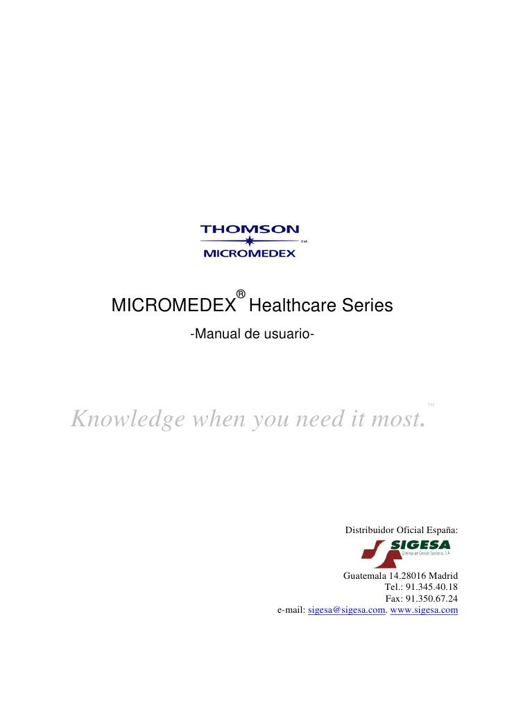 ®    MICROMEDEX Healthcare Series           -Manual de usuario-                                                           ...