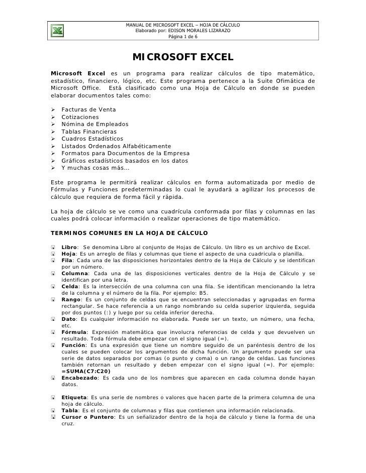 MANUAL DE MICROSOFT EXCEL – HOJA DE CÁLCULO                              Elaborado por: EDISON MORALES LIZARAZO           ...