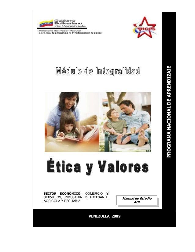Manual de Estudio 4/9 VENEZUELA, 2009 PROGRAMANACIONALDEAPRENDIZAJE SECTOR ECONÓMICO: COMERCIO Y SERVICIOS, INDUSTRIA Y AR...
