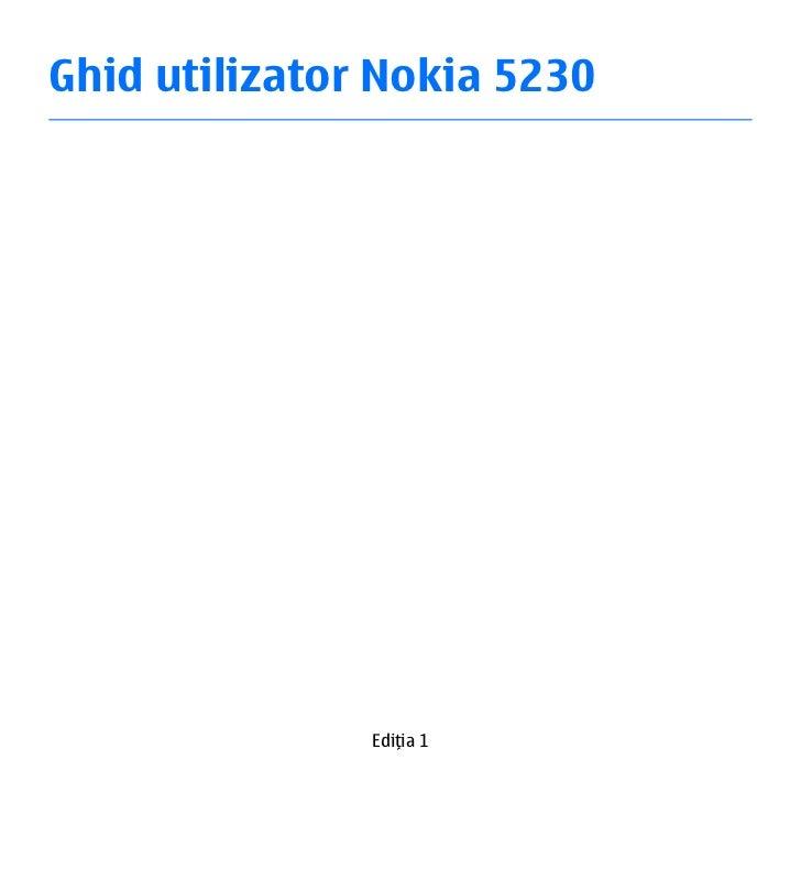 Ghid utilizator Nokia 5230               Ediţia 1