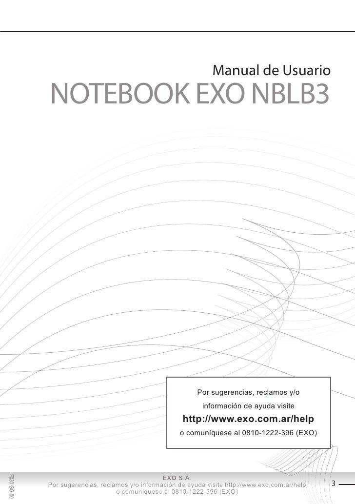 Manual de Usuario             NOTEBOOK EXO NBLB3                                                             Por sugerenci...