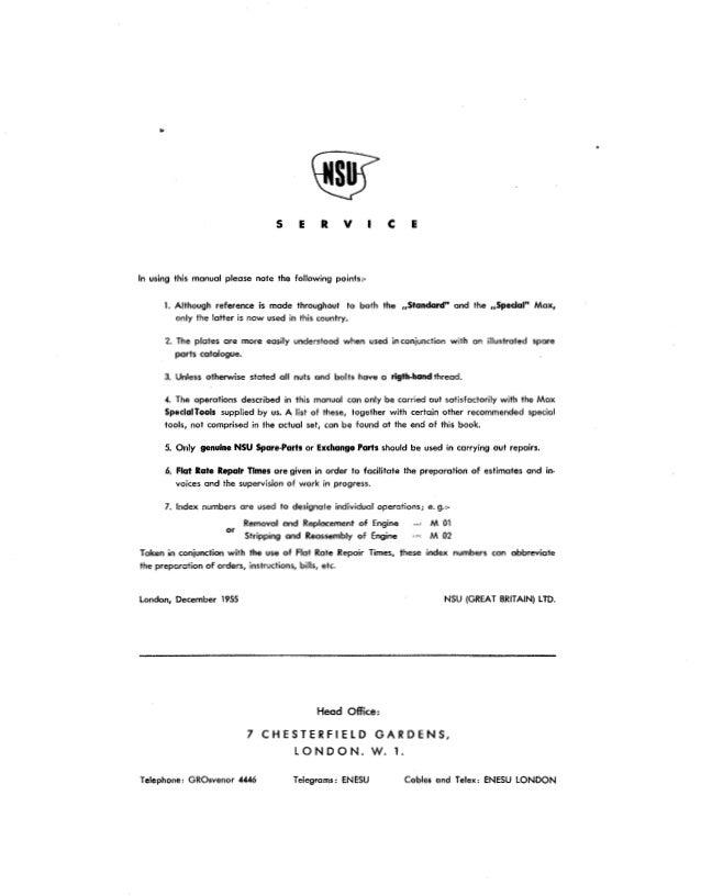 NSU MAX standard SPECIALE SUPER ISTRUZIONI RIPARAZIONE istruzioni riparazione