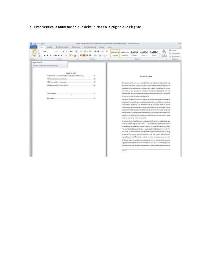Manual numeracion de páginas WORD 2010