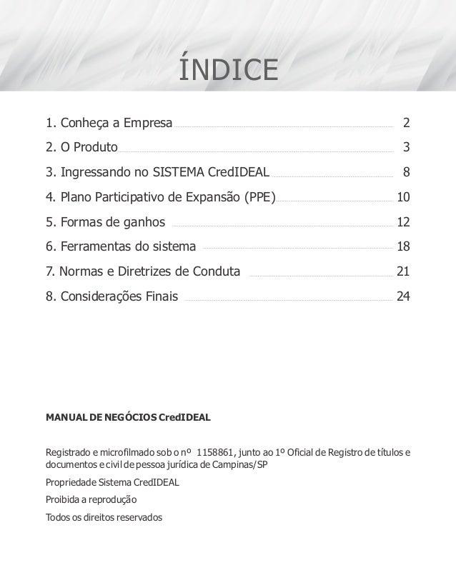 ÍNDICE 1. Conheça a Empresa 2. O Produto 3. Ingressando no SISTEMA CredIDEAL 4. Plano Participativo de Expansão (PPE) 5. F...