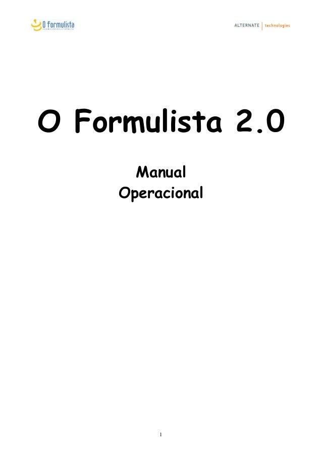 O Formulista 2.0 Manual Operacional 1