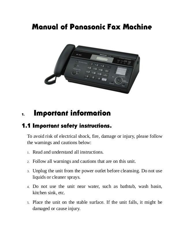 Инструкция факс панасоник