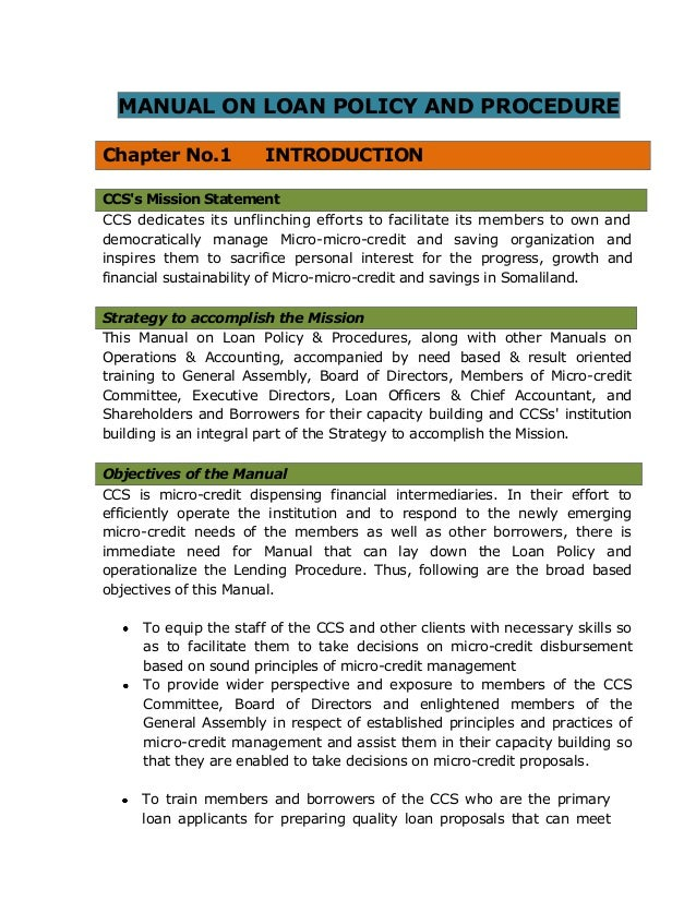 Manual On Loan Policy Procedure For Ccs Microfinance