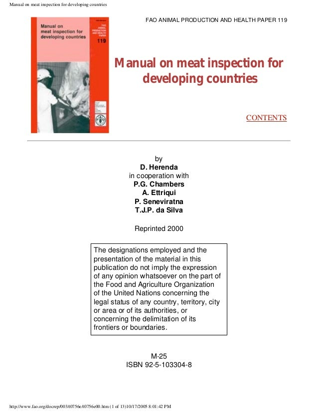 manual on meat inspection for developing countries rh slideshare net meat inspection manual pdf meat inspection manual procedures