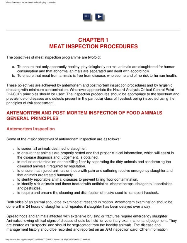 manual on meat inspection for developing countries rh slideshare net meat inspection manual procedures cfia meat inspection manual