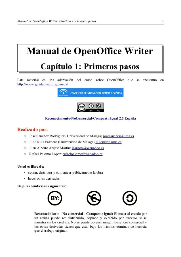 Manual de OpenOffice Writer. Capítulo 1. Primeros pasos                                 1        Manual de OpenOffice Writ...