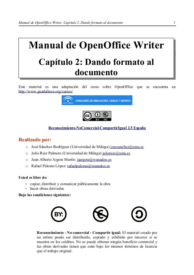 Manual de OpenOffice Writer. Capítulo 2. Dando formato al documento                     1        Manual de OpenOffice Writ...