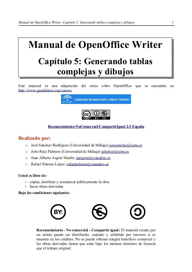 Manual de OpenOffice Writer. Capítulo 5. Generando tablas complejas y dibujos           1        Manual de OpenOffice Writ...