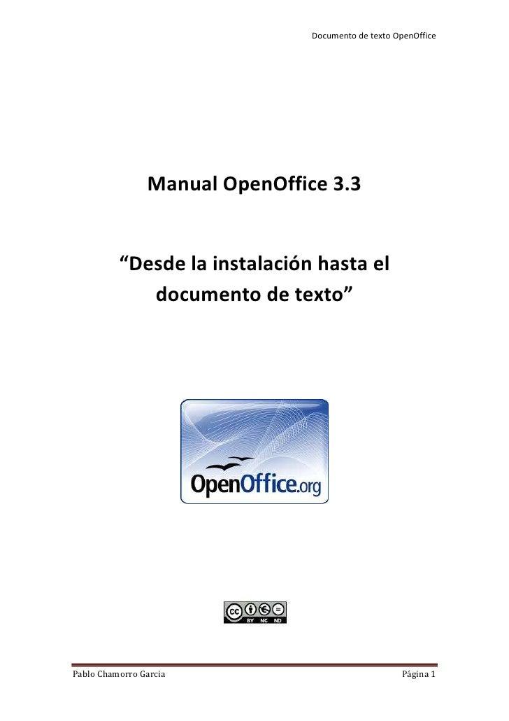 """Manual OpenOffice 3.3<br />""""Desde la instalación hasta el documento de texto""""<br />Índex<br />Instalar el OpenOffice 3.3<b..."""
