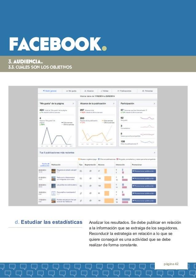 facebook.  página 42  Analizar los resultados. Se debe publicar en relación  a la información que se extraiga de los segui...