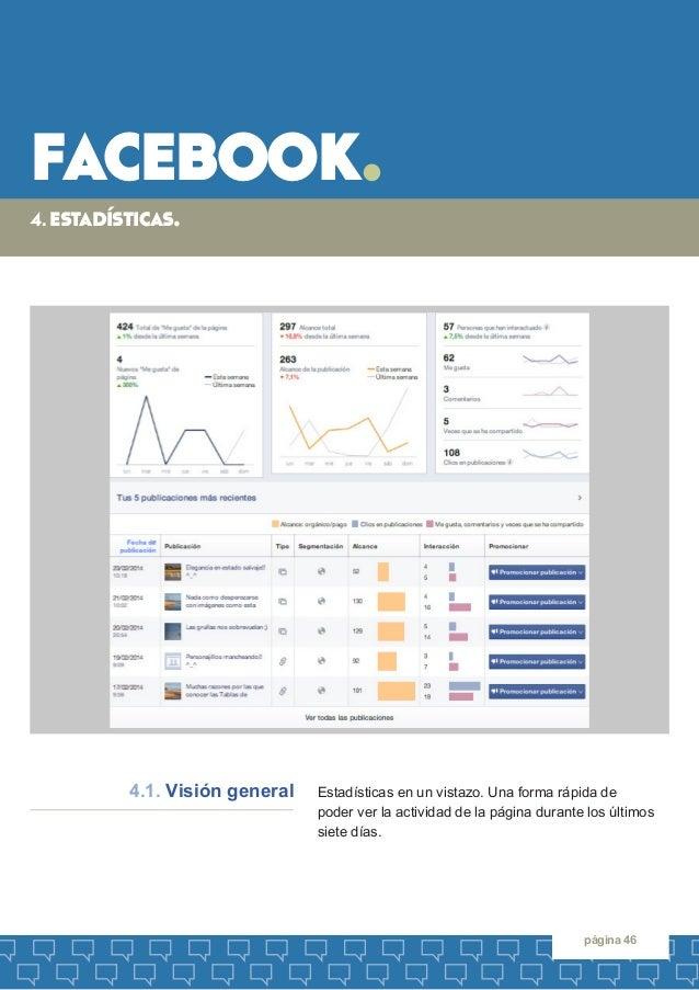 facebook.  página 46  Estadísticas en un vistazo. Una forma rápida de  poder ver la actividad de la página durante los últ...