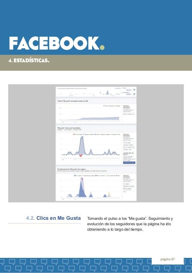 """facebook.  página 47  Tomando el pulso a los """"Me gusta"""". Seguimiento y  evolución de los seguidores que la página ha ido  ..."""