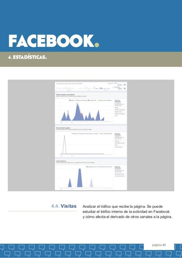 facebook.  página 49  Analizar el tráfico que recibe la página. Se puede  estudiar el tráfico interno de la actividad en F...
