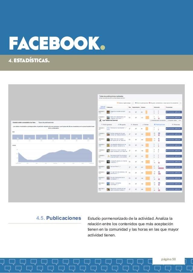 facebook.  página 50  Estudio pormenorizado de la actividad. Analiza la  relación entre los contenidos que más aceptación ...