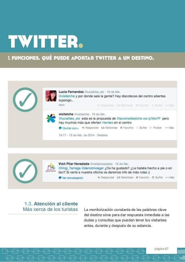 twitter.  1. funciones. qué puede aportar twitter a un destino.  página 67  La monitorización constante de las palabras cl...
