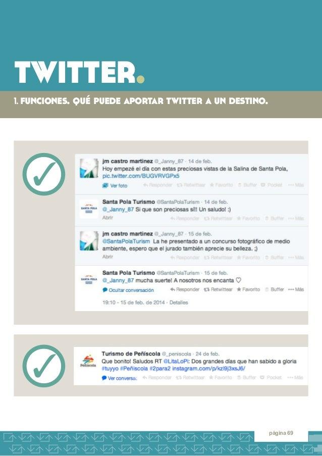 twitter.  1. funciones. qué puede aportar twitter a un destino.  página 69  3  3
