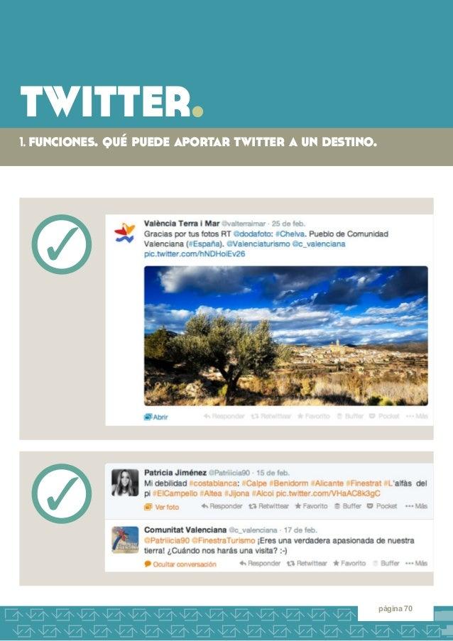 twitter.  1. funciones. qué puede aportar twitter a un destino.  página 70  3  3