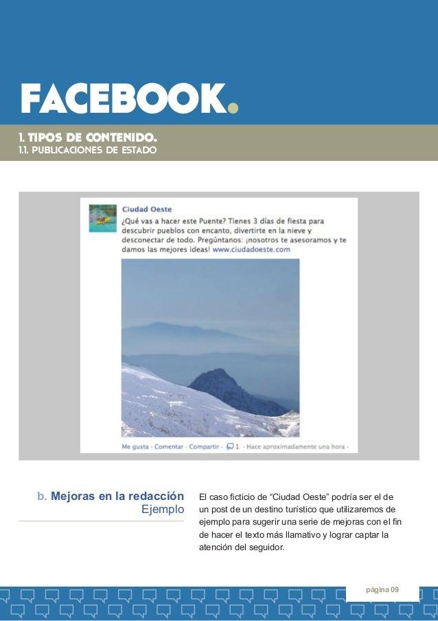 """facebook.  página 09  El caso ficticio de """"Ciudad Oeste"""" podría ser el de  un post de un destino turístico que utilizaremo..."""