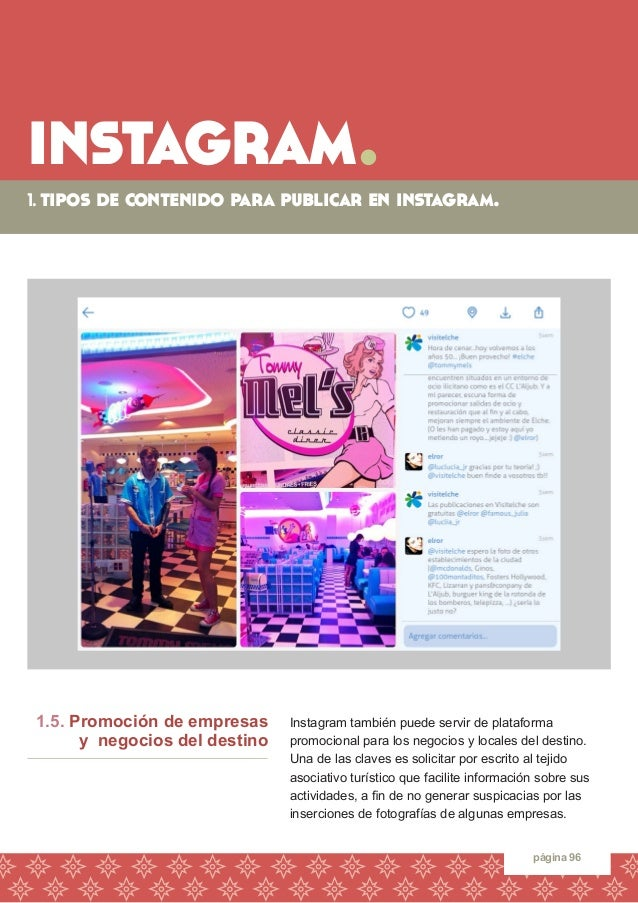 instagram.  1. tipos de contenido para publicar en instagram.  página 96  Instagram también puede servir de plataforma  pr...