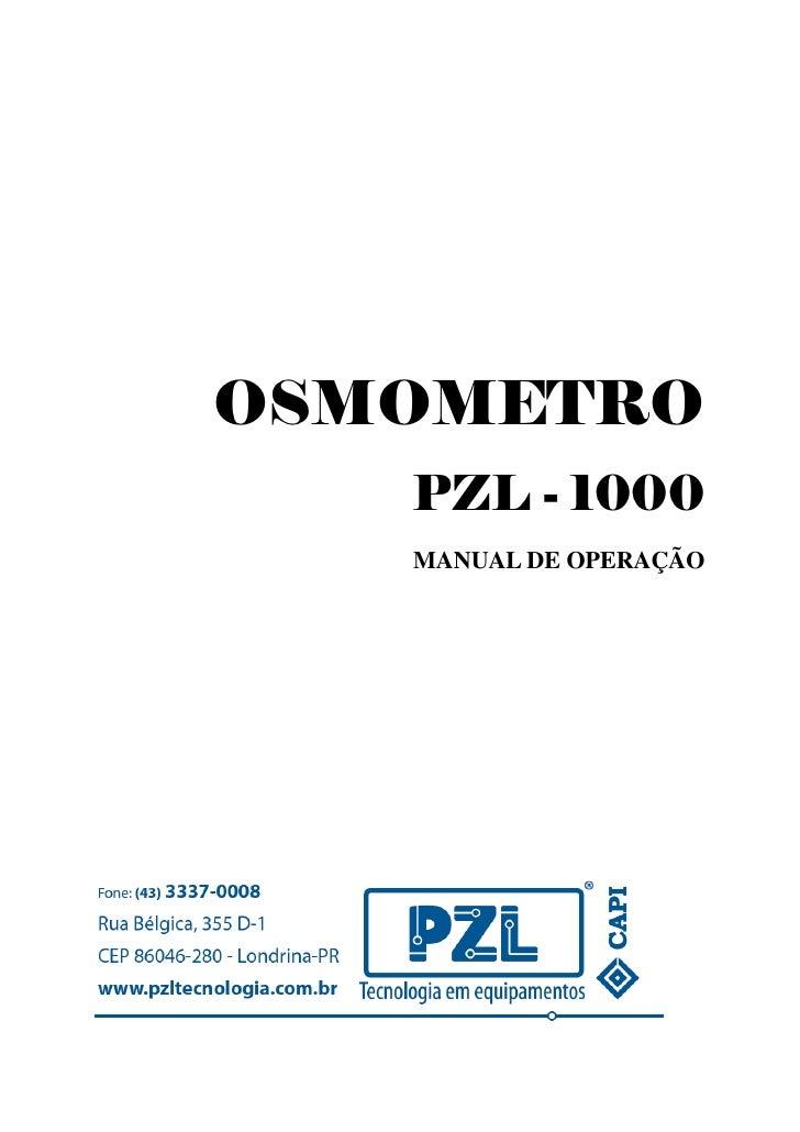 OSMOMETRO   PZL - 1000   MANUAL DE OPERAÇÃO