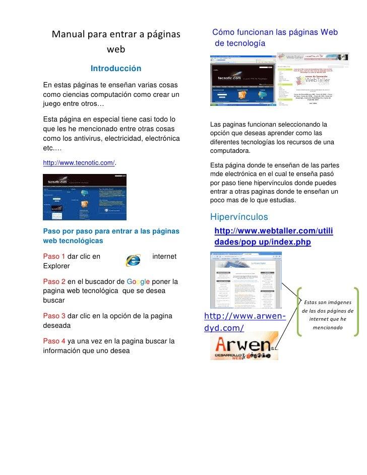 Manual para entrar a páginas                   Cómo funcionan las páginas Web                                             ...