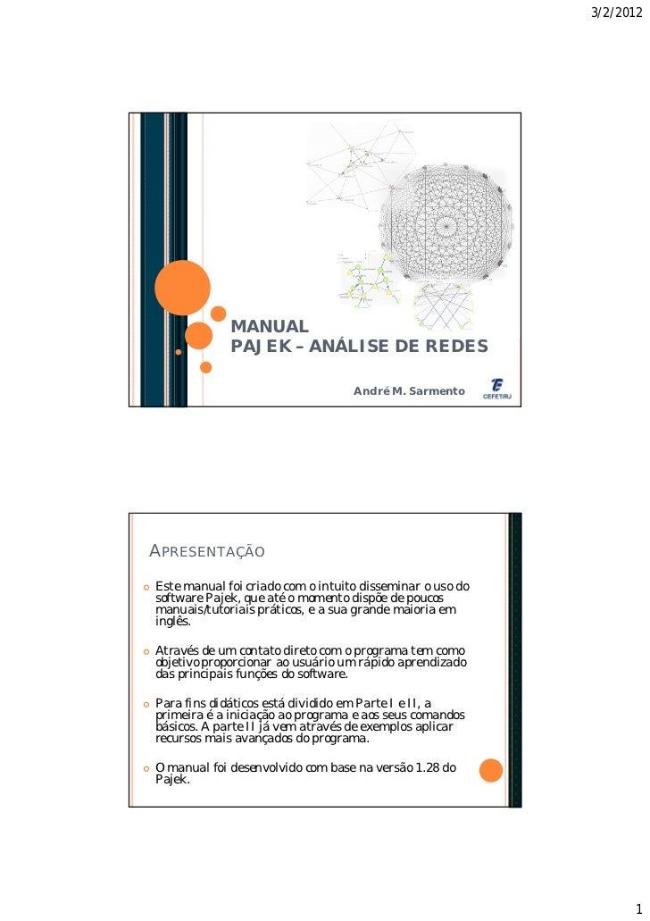 3/2/2012                 MANUAL                 PAJEK – ANÁLISE DE REDES                                       André M. Sa...