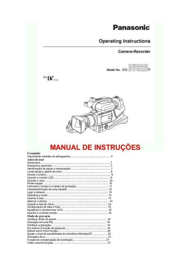 MANUAL DE INSTRUÇÕES                                                                 :ConteúdoImportantes medidas de salva...