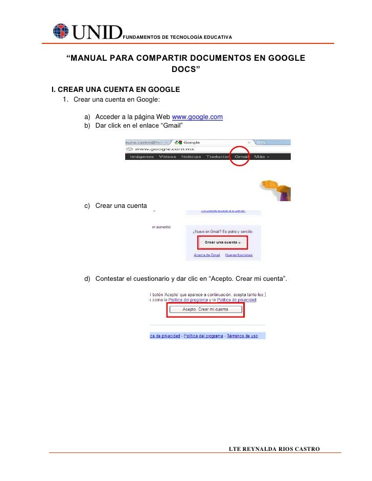"FUNDAMENTOS DE TECNOLOGÍA EDUCATIVA   ""MANUAL PARA COMPARTIR DOCUMENTOS EN GOOGLE                      DOCS""I. CREAR UNA C..."
