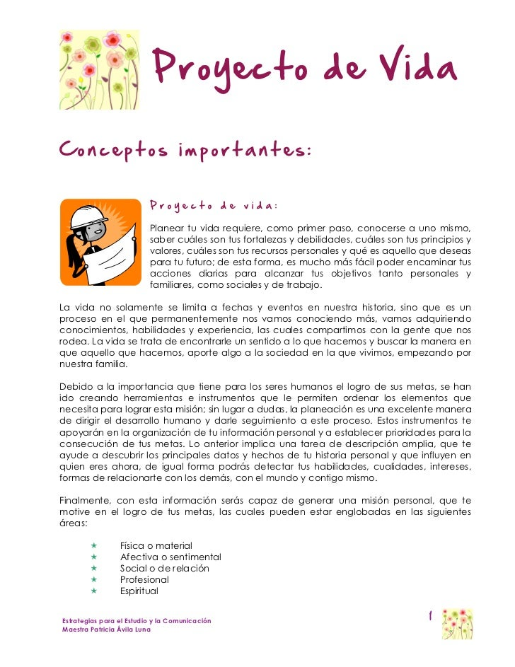 Proyecto de VidaConceptos importantes:                          Proyecto              de   vida:                          ...