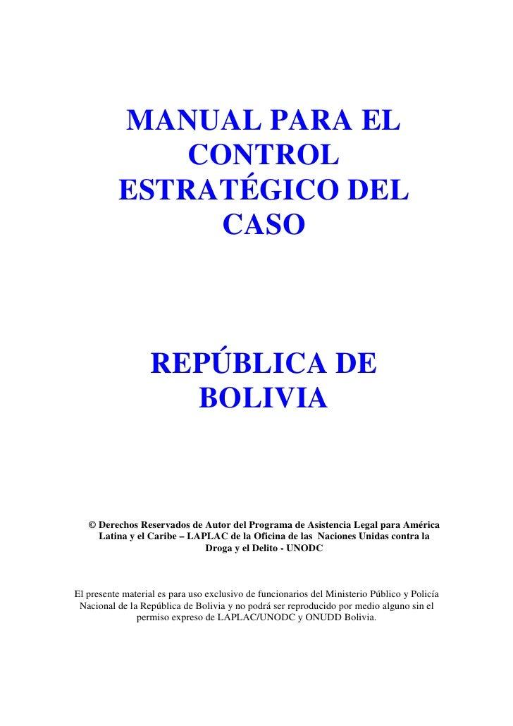 Manual para el control estratégico del caso - Bolivia Slide 2