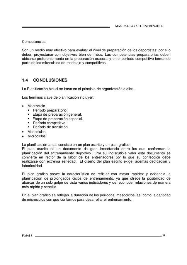 MANUAL PARA EL ENTRENADOR Fútbol 3 26 Competencias: Son un medio muy efectivo para evaluar el nivel de preparación de los ...