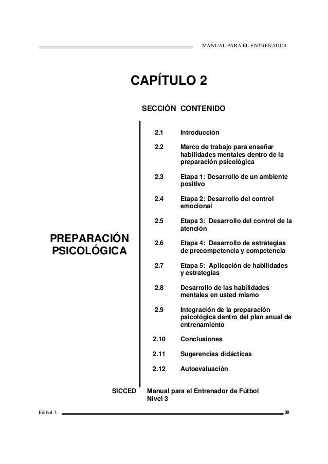 MANUAL PARA EL ENTRENADOR Fútbol 3 30 CAPÍTULO 2 SECCIÓN CONTENIDO PREPARACIÓN PSICOLÓGICA 2.1 2.2 2.3 2.4 2.5 2.6 2.7 2.8...