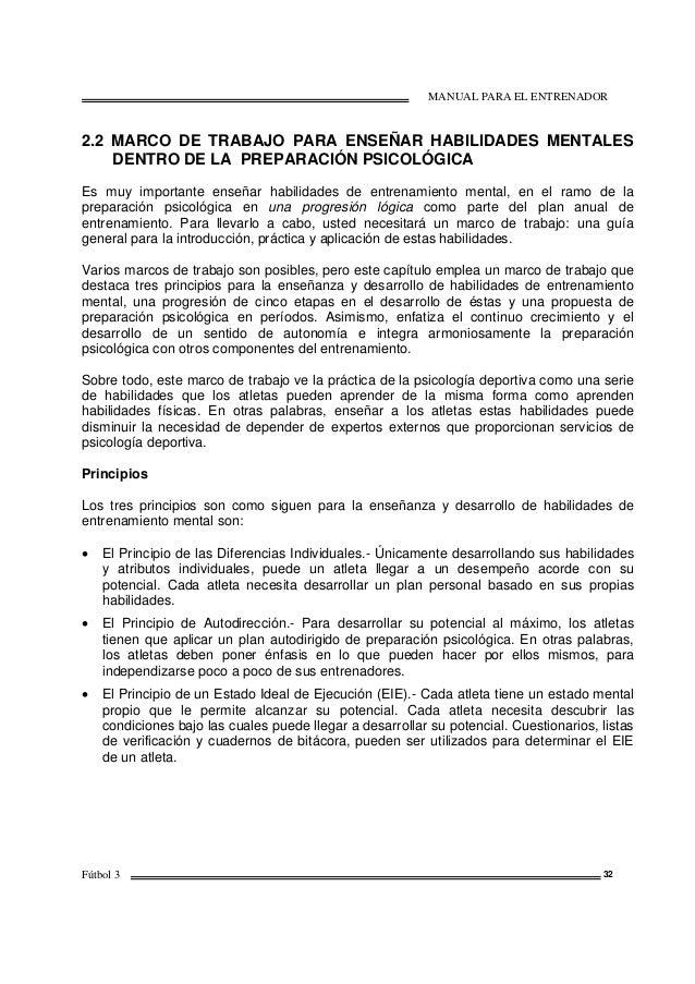 MANUAL PARA EL ENTRENADOR Fútbol 3 32 2.2 MARCO DE TRABAJO PARA ENSEÑAR HABILIDADES MENTALES DENTRO DE LA PREPARACIÓN PSIC...