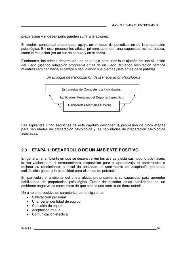 MANUAL PARA EL ENTRENADOR Fútbol 3 36 preparación y el desempeño pueden sufrir alteraciones. El modelo conceptual presenta...