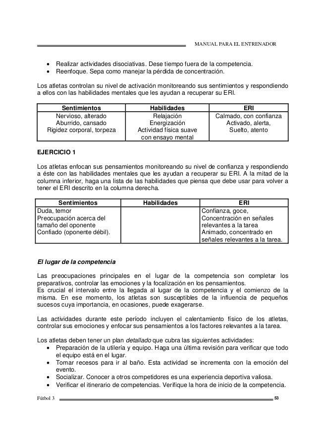 MANUAL PARA EL ENTRENADOR Fútbol 3 53 • Realizar actividades disociativas. Dese tiempo fuera de la competencia. • Reenfoqu...