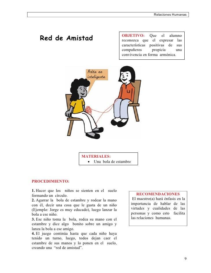 Relaciones Humanas         Red de Amistad                                                    OBJETIVO: Que el alumno      ...