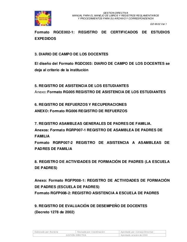 manual para el manejo de libros y registros reglamentarios y procedim