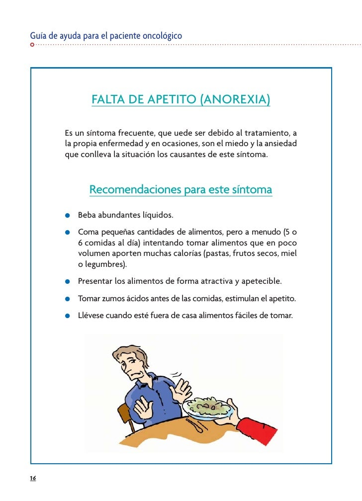 Guía de ayuda para el paciente oncológico                     FALTA DE APETITO (ANOREXIA)           Es un síntoma frecuent...