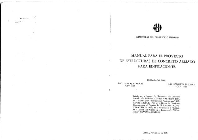 MINISTERIO DEL DESARROLLO URBANO MANUAL PARA EL PROYECTO DE ESTRUCTURAS DE CONCRETO ARMADO PARA EDIFICACIONES ING. HENRIQU...