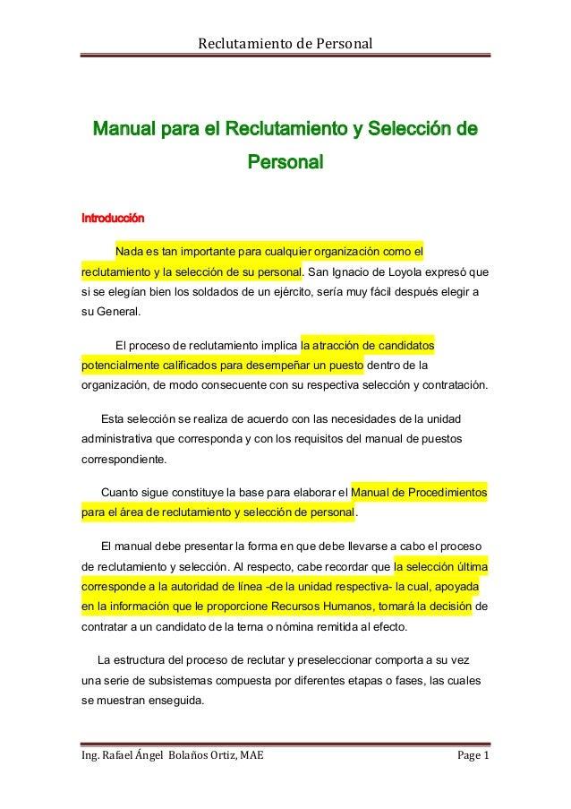 Reclutamiento de Personal  Manual para el Reclutamiento y Selección de                                 PersonalIntroducció...