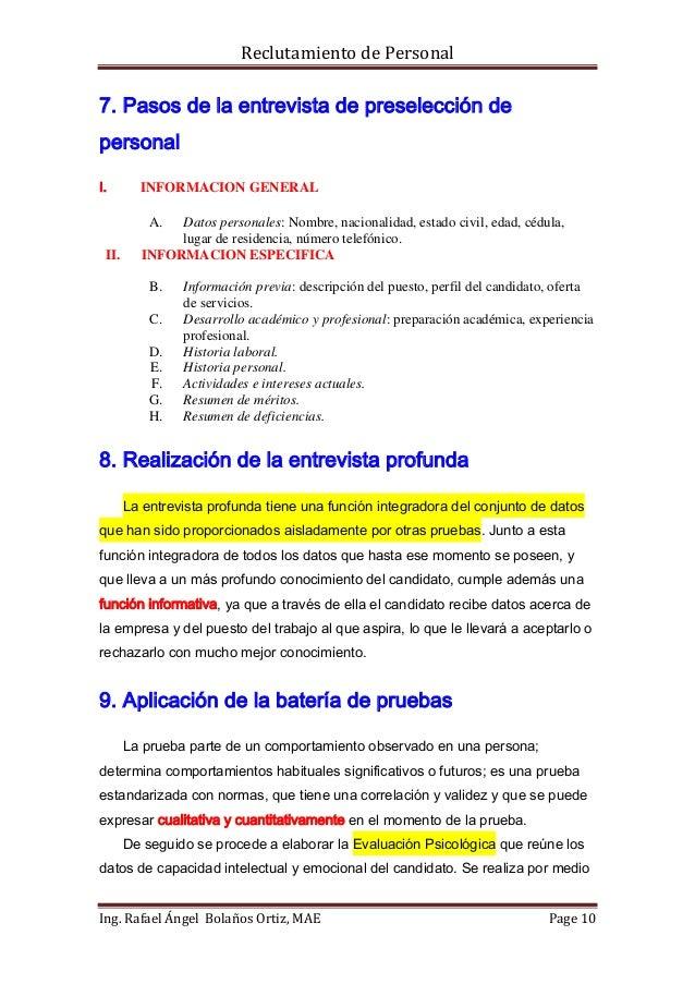 Reclutamiento de Personal7. Pasos de la entrevista de preselección depersonalI.       INFORMACION GENERAL           A. Dat...